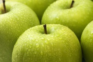 Close up of green apples wet with dewdrops